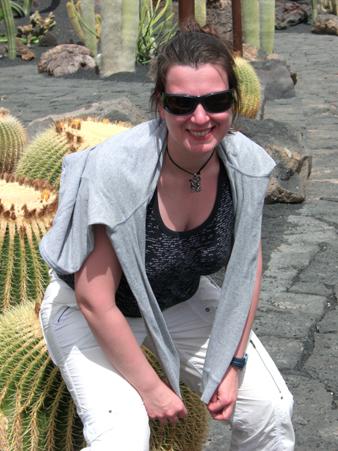 Silke auf dem Kaktus